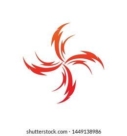 Fire phoenix tribal logo template