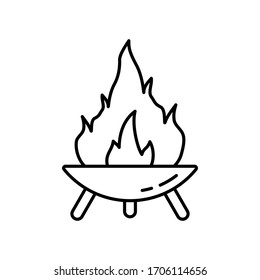 Fire Pit on three legs. Symbol of making campfire outdoors and traveling. Diwali festival icon. Line art round bonfire bowl. Black illustration for camping. Contour isolated vector on white background