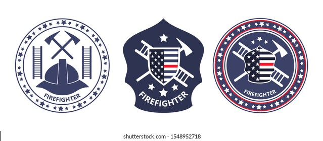 Fire Prevention Awareness Month is organised in USA. Ladder, helmet, tools, shield with American flag are shown. Trendy round emblem vector of firefighters for banner, icon, web, logo.