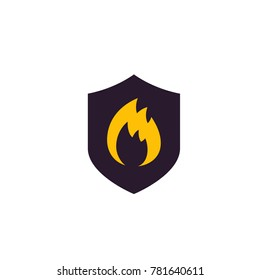 Fire protection icon with shield
