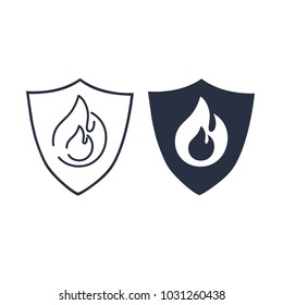 Fire protection icon. Vector fire shield and flame, Security concept. Firewall icon or badge, danger symbol with flame heat. Fireproof symbol