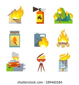 Fire protection icons set of house forest car accidents isolated vector illustration