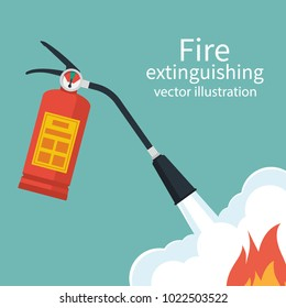 Fire protection. Fire safety. Fire extinguisher aimed at the fire. Vector illustration flat design. Place to describe instructions. Protection from flame. Show training instructions. Foam from nozzle.