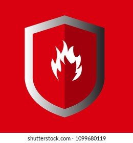 Fire protection.fire icon and shield.
