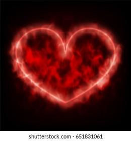 Fire red heart on black background. Vector illustration of smoke heart shape.