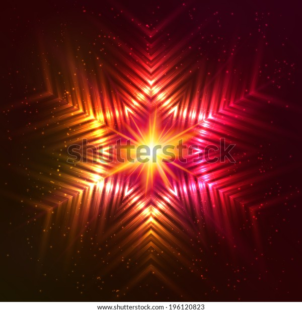 Fire red vector abstract snowflake