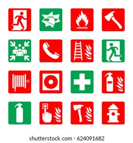Fire rescue / emergency icon set. Vector illustration.