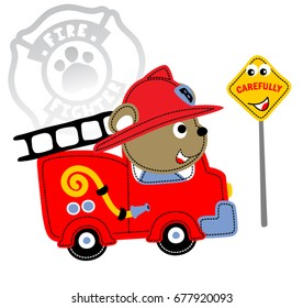fire rescue with funny traffic sign, vector cartoon illustration