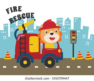 Fire rescue team with funny firefighter, vector cartoon, Creative vector childish background for fabric, textile, nursery wallpaper, poster, card, brochure. vector illustration background.