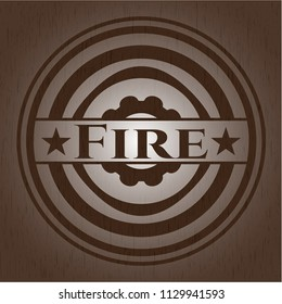 Fire retro style wood emblem