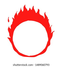 Fire ring handdrawn burning flame illustration vector doodle style