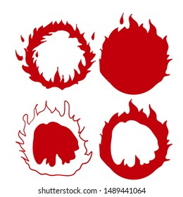 fire ring illustration vector with handdrawn doodle style red color