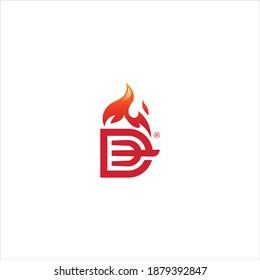 fire roasted letter D logo concept for food business