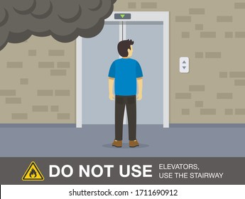 Fire safety activity. Young man waiting elevator. Do not use lifts to escape a fire. Flat vector illustration.