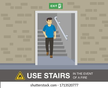Fire safety activity. Young man going down stairs to escape a fire. Flat vector illustration.