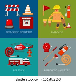 Fire safety banner vector illustration. Firefighter iniform and inventory. Helmet, gloves. Equipment as firehose hydrant alarm, bollard and extinguisher station.