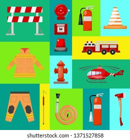 Fire safety banner vector illustration. Firefighter uniform and inventory. Helmet, gloves. Equipment as firehose hydrant alarm, bollard and extinguisher station.