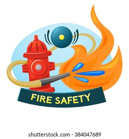 Fire safety concept design, vector illustration fire extinguishing