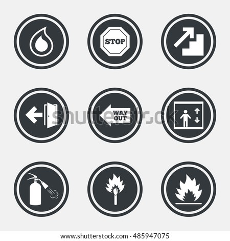 Fire Safety Emergency Icons Fire Extinguisher Stock Vector Royalty