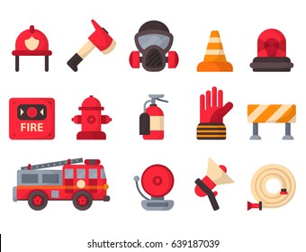 Fire safety equipment, emergency tools, firefighter safe danger accident protection vector illustration.