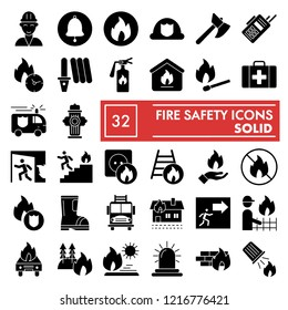 Fire safety glyph icon set, emergency symbols collection, vector sketches, logo illustrations, urgency signs solid pictograms package isolated on white background, eps 10