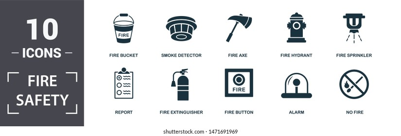 Fire Safety icon set. Contain filled flat smoke detector, fire extinguisher, report, alarm, sprinkler, no fire, axe, fire hydrant icons. Editable format.