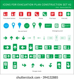 fire safety icons for evacuation plan