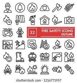 Fire safety line icon set, emergency symbols collection, vector sketches, logo illustrations, urgency signs linear pictograms package isolated on white background, eps 10