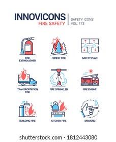 Fire safety - modern line design style icons set. Danger and rescue service idea. Types of ignition, transportation, forest, building, kitchen, smoking. Extinguisher, plan, sprinkler, engine