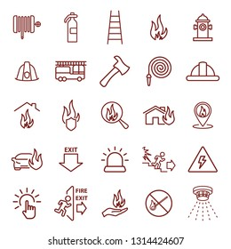 fire safety, security. thin line web icon set. simple vector illustration outline. concept for infographic, website or app.