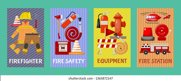 Fire safety set of cards, banners vector illustration. Firefighter uniform and inventory. Equipment as firehose hydrant, alarm, bollard and extinguisher station.