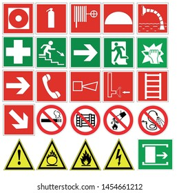 fire safety signs icons with the exit from the premises