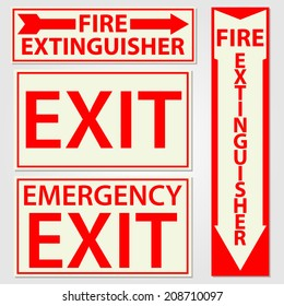 Fire safety signs vector illustration