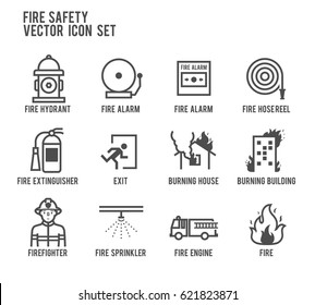 Fire Safety Vector Line Icon Set.  Included the icons as fire hose reel, burning building, fire exit, firefighter, hydrant, extinguisher, sprinkler and more.