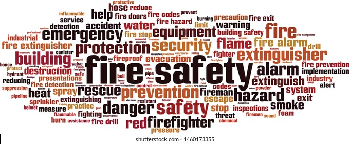 Fire safety word cloud concept. Collage made of words about fire safety. Vector illustration