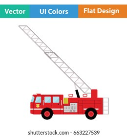 Fire service truck icon. Flat color design. Vector illustration.