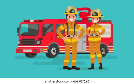Fire service workers man and woman. Firefighters on the background of the service car. Vector illustration in a flat style