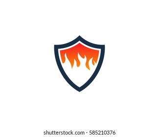 Fire Shield Logo Design Element