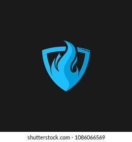 Fire shield protector logo icon design template. Abstract security company vector illustration