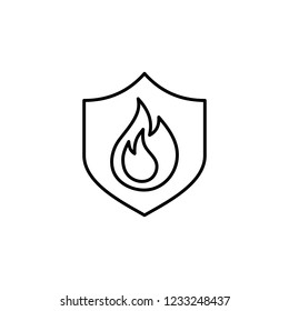fire with shield symbol line black icon on white background