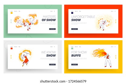 Fire Show Entertainment, Performance Landing Page Template Set. Characters Dance and Juggle with Flame on Stage Performing Talent Show Program for Judges and Viewers. Linear People Vector Illustration