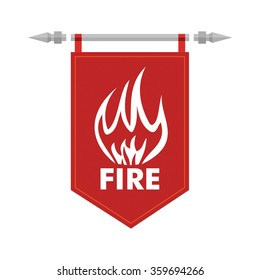 Fire sign on flag. Illustration for your presentation template.