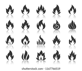 Fire silhouette icons set. Monochrome web sign kit of bonfire. Flame pictogram collection includes combustion fuel, candlelight, template. Simple vector black symbol. Fire shape icon with reflection