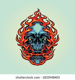 Fire Skull Head Mascot Illustrations for your merhandise your work elements design