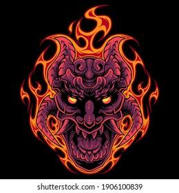 Fire skull head mascot logo