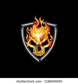 fire skull head with shield badge logo vector template