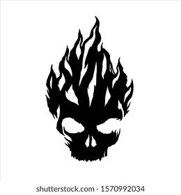 Fire Skull, Skeletal rock Logo template.