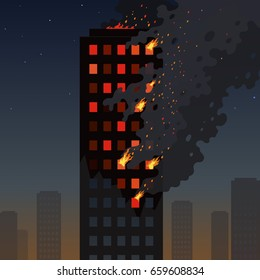 Fire of the skyscraper on a night cityscape. Flat burning tower of an apartment building. Orange flames in the windows and thick smoke with sparks. Useful for alarm visualization of a breaking news.