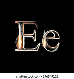 Fire and Smoke font. Letter E. Vector illustration.
