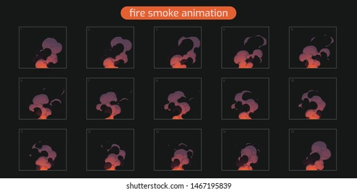 Fire Smoke Loop Animation. Animation of smoke. Sprite sheet for game or cartoon or animation. 2d flash classic animation smoke effect FX. illustration - Vector